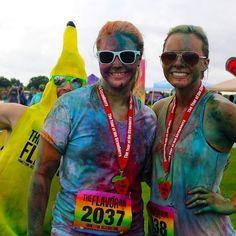 Only at the Flavor Run can you get banana bombed! #bananalicious #banana #flavorrun #flavor #finishline #finishermedal #5k #girlsontherun #dosomethinggood #gotr #charity