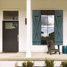 Front Door Decor Discover Dogberry Collections 14 in. x 72 in. Cedar Board and Batten X-Shutters Pair Stone - The Home Depot Modern Shutters, Window Shutters Exterior, Outdoor Shutters, Cedar Shutters, Farmhouse Shutters, Green Shutters, Wood Shutters, Modern Farmhouse Exterior, Custom Shutters