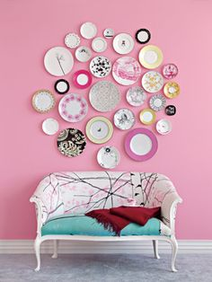 Plate wall! Use a mixture of plates to show your style! We have a great selection @ Firehouse Antiques.
