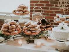 Let's talk about wedding dessert tables. Here are 15 ways to decorate and fill the dessert table at your wedding reception. Fall Wedding Desserts, Wedding Desert Table, Wedding Sweets, Wedding Cakes, Sweet Table Wedding, Cake Tables For Weddings, Wedding Snacks, Wedding Reception Tables, Donut Bar