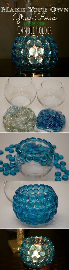 DIY candle holder centerpieces with glass bead
