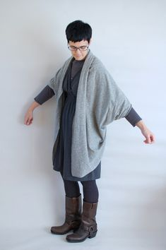 An origami inspired cardigan sewn from only a few strategic seams.