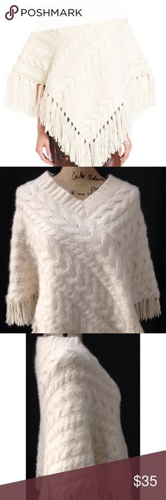 Banana republic angora sweater poncho ivory Excellent condition size M/L with fringe bottom. Exact sweater shown on mannequin. Banana Republic Sweaters Shrugs & Ponchos