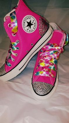 95727a44ba8b Pretty in Pink Converse Chuck Taylor All Stars Crystal Sparkling Hi Top  Sneakers with White Ribbon
