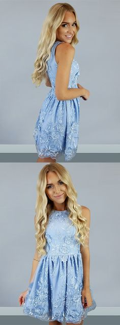 2017 lace homecoming dresses, short a-line sky blue fashion party gowns, simple short prom dresses.