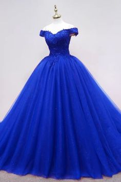 Elegant Royal Blue Tulle Quinceanera Dresses Apliques Formal Evening Gowns for Women H3936 by Fashiondressy, $162.00 USD Quince Dresses, 15 Dresses, Fashion Dresses, Pretty Dresses, Beautiful Dresses, Evening Dresses, Tulle Balls, Tulle Ball Gown, Royal Blue Dresses