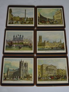 Vinatge Set of Six Large, Pimpernel Cork Coasters, Famous London Landmarks/Made In England by RockyandPablo on Etsy