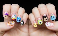 Disney Tsum Tsum Character Nail Art - Disney Tsum Tsum Nail Art by Chalkboard Nails - Disney Manicure, Nail Art Disney, Disney Nail Designs, Disney Princess Nails, Nail Art Designs, Nail Art Set, Fall Nail Art, Kid Nail Art, Trendy Nail Art