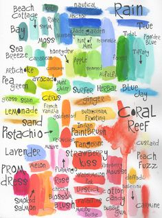 samples of color with labels.  love this idea to have a quick reference to what watercolors look like.