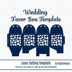 Wedding Favor Box Template Laser cutting Heart Commercial Use