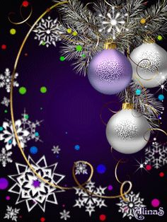 Pretty Things In Life Winter Christmas Scenes, Purple Christmas, Christmas Mood, Merry Christmas And Happy New Year, Christmas Bulbs, Christmas Decorations, Christmas Clipart, Christmas Greetings, Gif Noel