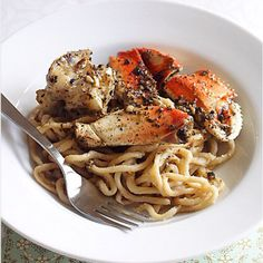 Crustaceans SF - Gotta try making the Garlic noodles! --Crustacean-inspired Garlic Noodles and Roasted Crab Recipe Seafood Dishes, Pasta Dishes, Seafood Recipes, Pasta Recipes, Cooking Recipes, Crab Dishes, Lobster Recipes, Dinner Dishes, What's Cooking