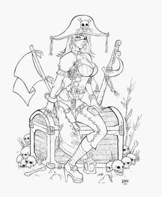 Pirate Coloring Pages for Adults Awesome Pirate by Funeralwind On Deviantart Pirate Coloring Pages, Fairy Coloring Pages, Adult Coloring Book Pages, Coloring Books, Pirate Girl Tattoos, Theme Tattoo, Pirate Art, Desenho Tattoo, Fantasy Art