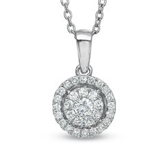 1/3 CT. T.W. Diamond Composite Round Frame Pendant in 10K White Gold