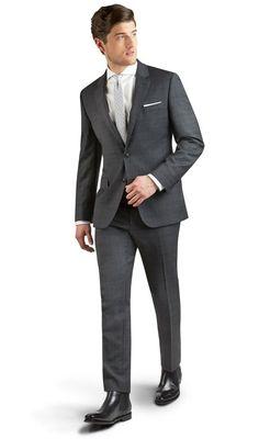 Farringdon Charcoal Grey Overcheck 2-Button Slim Fit Suit,
