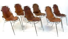 Six 1960s Les Arcs Chairs by Charlotte Perriand