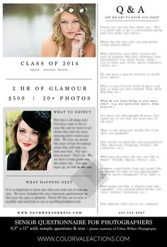 Senior Portrait Questionnaire Template - Photoshop Template - Get to know your senior clients to help make your sessions go smoothly. $10.00 in the shop - http://www.colorvaleactions.com/senior-questionnaire-template
