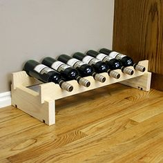 Creekside 6 Bottle Short Scalloped Wine Rack (Pine) by Creekside - Easily stack multiple units - hardware and assembly free. Hand-sanded to perfection! Wine Bar Cabinet, Wine Cabinets, Wine Glass Rack, Wine Bottle Holders, Wine Shelves, Wine Storage, Wine Rack Plans, Rustic Wine Racks, Mini Bottles