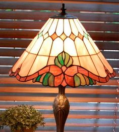 Tiffany Style Stained Glass Table Lamp by PickersWarehouse Stained Glass Lamp Shades, Stained Glass Table Lamps, Stained Glass Light, Tiffany Stained Glass, Tiffany Glass, Stained Glass Designs, Stained Glass Projects, Leaded Glass, Mosaic Glass