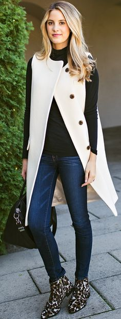 White Vest Coat Black Turtleneck Jeans Leopard Booties Fall Inspo by Ivory Lane