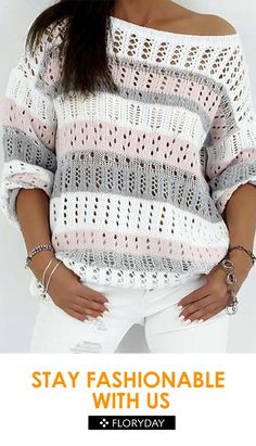 Oblique Neckline Color Block Asymmetrical Hollow Out Shift, Sweaters - White / XXLShop Floryday for affordable Tops. Floryday offers latest ladies' Tops collections to fit every occasion.Latest fashion trends in women's Sweaters. Gilet Crochet, Crochet Cardigan Pattern, Crochet Stitches Patterns, Crochet Blouse, Crochet Shawl, Knitting Patterns Free, Knit Crochet, Free Pattern, Free Crochet