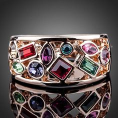 Cheap austrian crystal rings, Buy Quality crystal ring directly from China gold color Suppliers: AZORA Rose Gold Color Multicolour Stellux Austrian Crystal Ring Rose Gold Jewelry, 18k Rose Gold, 18k Gold, Modern Jewelry, Unique Jewelry, Wedding Band Sets, Delicate Rings, Rose Gold Color, Austrian Crystal