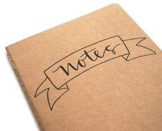 Brown Kraft Moleskine Cahier . Notes Banner . Handwritten Calligraphy . Large . Paperback. $18.00, via Etsy.
