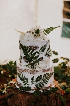 Floral Wedding Cakes Earthy forest details take shape in the form of pressed ferns and white blooms in this seminaked cake with laid-back fairy-tale charm. - Your jaw is definitely going to drop. Floral Wedding Cakes, Wedding Cake Rustic, Fall Wedding Cakes, Elegant Wedding Cakes, Beautiful Wedding Cakes, Woodland Wedding, Forest Wedding Cakes, Forest Wedding Invitations, Beautiful Cakes