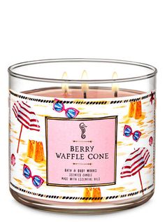 Shop Berry Waffle Cone Candle at Bath And Body Works! Fill your home with the most irresistible, beautiful fragrance today. Bath Candles, 3 Wick Candles, Scented Candles, Candle Jars, Berry Crumble, Candles For Sale, Waffle Cones, Summer Berries, Bath And Bodyworks