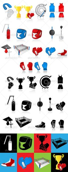 Boxing icons  #GraphicRiver         Boxing icons,easy to edit or re size, all icons set on a different layers, looks good on any background, black and white version included. Files: ai ,psd, eps 10, jpg.     Created: 1August13 GraphicsFilesIncluded: PhotoshopPSD #JPGImage #VectorEPS #AIIllustrator HighResolution: Yes Layered: Yes MinimumAdobeCSVersion: CS6 Tags: bag #box #boxer #boxing #champion #cup #equipment #gong #hats #protection #punch #ring #shirt #shoes #sport #vector