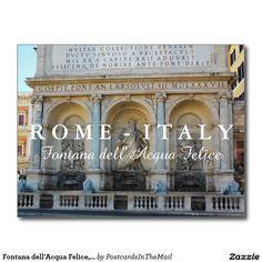 Fontana dell'Acqua Felice, Rome, Italy Postcard