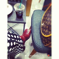 Maroon Leather Boots; LV HandBag; Polkadot Abaya; Black Hijab Khimar; Black Coffee; Americano Ice Coffee; Starbucks Coffee
