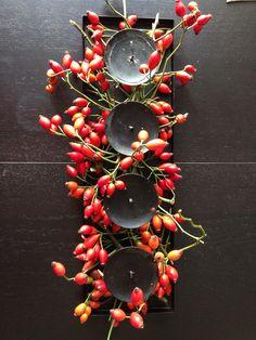 Herbst Deko rote Hagebutte Kerzen Tischleuchter Kerzenleuchter