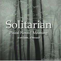 Solitarian (n) ..a recluse, a hermit