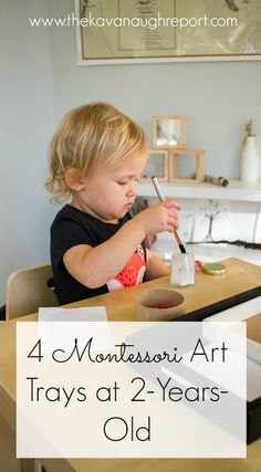 4 Montessori Art Trays at 2-years-old