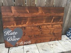 Handmade wood stained wedding guestbook, guest guestboard. Personalized wedding gift.