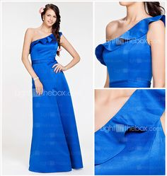 A-line One Shoulder Floor-length Satin Bridesmaid Dress