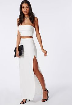 Thigh High Split Maxi Skirt White