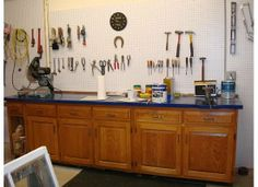 Garage ideas on pinterest old kitchen cabinets garage and garage
