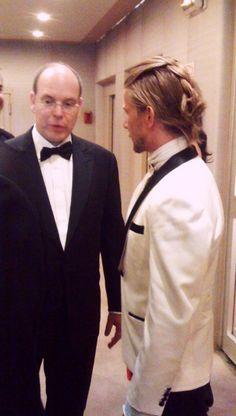 His Royal Highness Prince Albert II of Monaco with Designer Jeff Garner after the Prophetik Princess Grace Catwalk Charity benefit