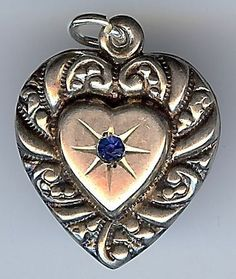 LARGE VINTAGE ORNATE STERLING SILVER BLUE STONE PUFFY HEART CHARM