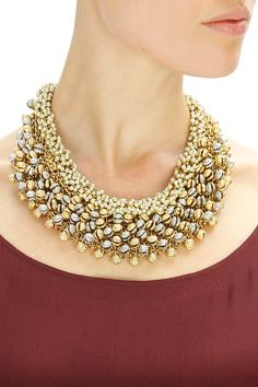 Gold finish beads and baby pearls necklace by Rohita & Deepa. Shop at www.perniaspopupshop.com. #jewellery #designer #rohitaanddeepa #shopnow #perniaspopupshop #happyshopping