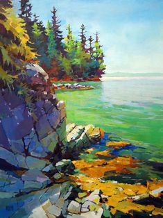 Rock Stacks by Randy Hayashi, Acrylic on Canvas, Painting Koyman Galleries Watercolor Landscape, Watercolor Paintings, Landscape Fabric, Acrylic Landscape Painting, Watercolors, Landscape Design, Norway Landscape, Lake Painting, Watercolor Artists