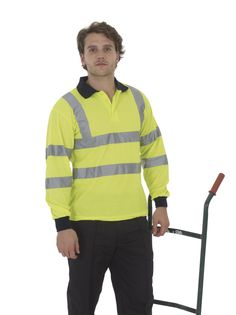 Yoko Hi-Vis Long Sleeve Polo Shirt - Under £11