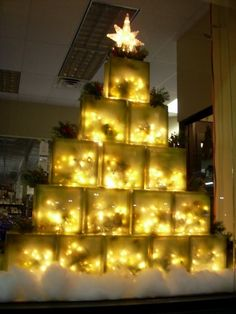 krafty blok a glass block christmas tree store display - Best Shop For Christmas Decorations