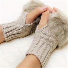 21b1ec31c71 Women Arm Warmer Gloves Fingerless Winter Knitted Wrist Rabbit FREE  SHIPPING  fashion  clothing