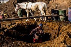El barrilero es el encargado de preparar la mezcla, compuesta de guano de caballo con aserrín, más agua y tierra.