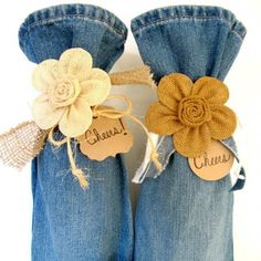 Repurpose jean pant legs into wine gift bags. One cut, one seam, embellish & CHEERS!