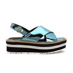 Yoins Blue Cross Strap Front Leather Look Ankle Strap Fastening Layer Platform Flat Sandal