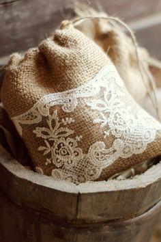 Burlap and Lace Bag with sachet. Shabby Vintage, Shabby Chic, Lace Bag, Crochet Needles, Lavender Sachets, Burlap Crafts, Burlap Lace, Wedding Cakes With Flowers, Handmade Wedding